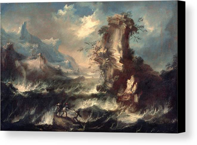 Cliff Canvas Print featuring the painting Italian Seascape With Rocks And Figures by Marco Ricci