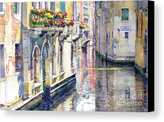 Watercolor Canvas Print featuring the painting Italy Venice Midday by Yuriy Shevchuk