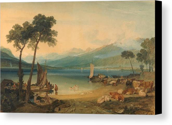 1802 Canvas Print featuring the painting Lake Geneva And Mount Blanc by JMW Turner