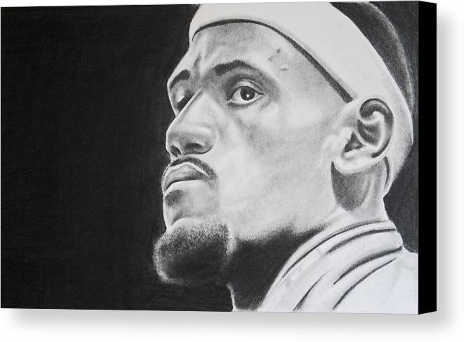 King James Canvas Print featuring the drawing Lebron by Don Medina