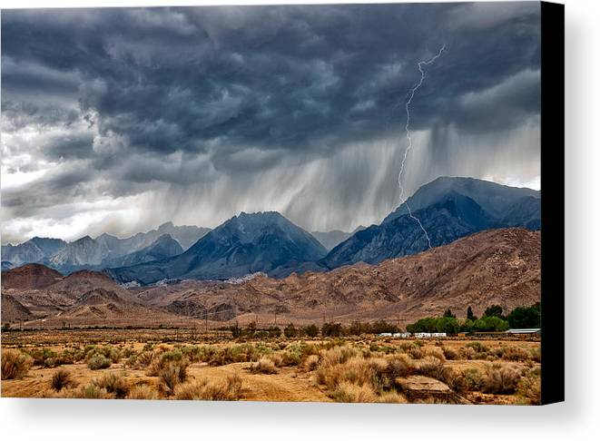 Storm Canvas Print featuring the photograph Lightning Strike by Cat Connor