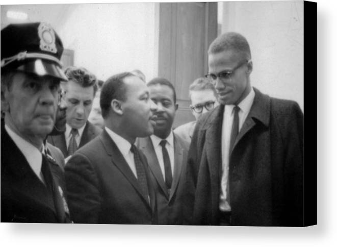 Martin; Luther; King; Jnr; 1929-1968; Malcolm; Malcolm; Little; 1925-1965; Waiting; Press; Conference; 26; March; 1964; Photographer; Marion; Trikoskor; America; Usa; Politics; Racial; Equality; Racism; Segregation; Integration; Twentieth Century; 20th Century Canvas Print featuring the photograph Martin Luther King Jnr 1929-1968 And Malcolm X Malcolm Little - 1925-1965 by Marion S Trikoskor