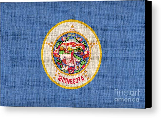 Minnesota Canvas Print featuring the painting Minnesota State Flag by Pixel Chimp