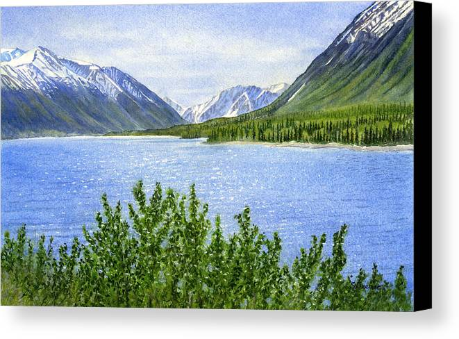 Watercolor Canvas Print featuring the painting Morning Sun On Kenai Lake by Sharon Freeman