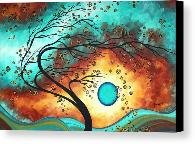 Abstract Canvas Print featuring the painting Original Bold Colorful Abstract Landscape Painting Family Joy II By Madart by Megan Duncanson