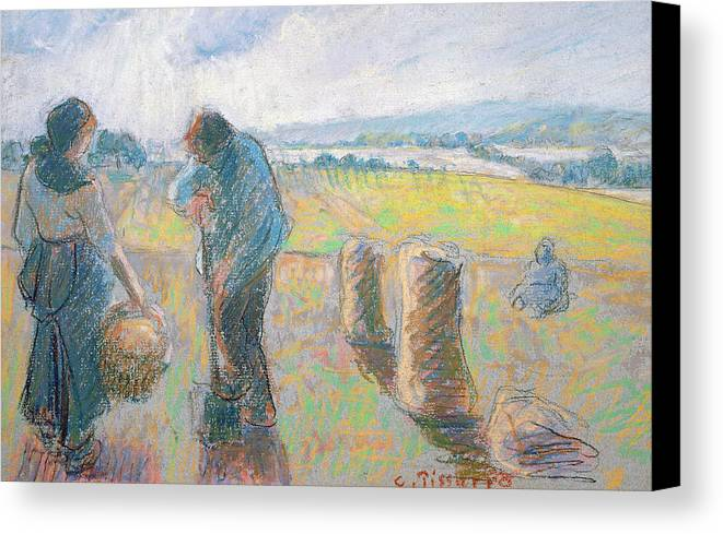 Agriculture Canvas Print featuring the pastel Peasants In The Fields by Camille Pissarro