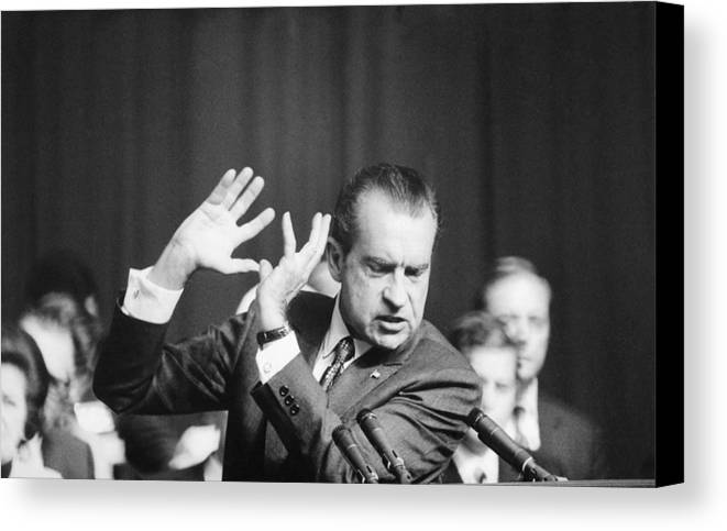 History Canvas Print featuring the photograph President Richard Nixon Gesturing by Everett