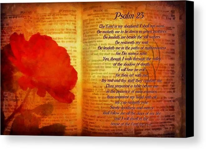 Jesus Canvas Print featuring the digital art Psalm 23 by Michelle Greene Wheeler