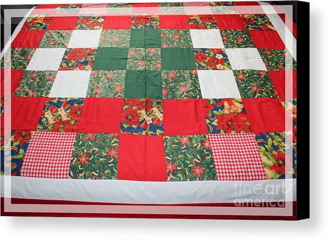 Quilts Canvas Print featuring the tapestry - textile Quilt Christmas Blocks by Barbara Griffin
