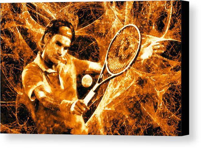 Art Federer Canvas Print featuring the digital art Roger Federer Clay by RochVanh