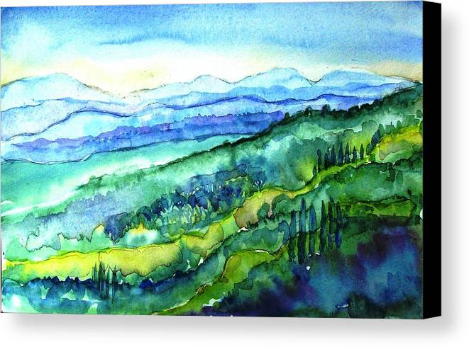 Tuscany Canvas Print featuring the painting Rolling Tuscan Landscape by Trudi Doyle