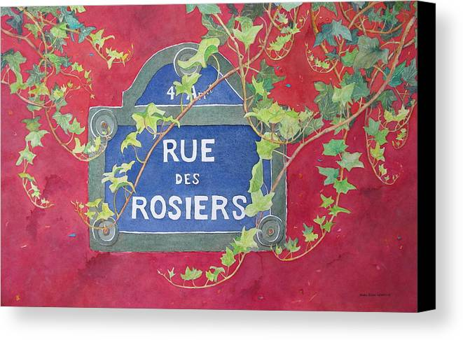 Red Wall Canvas Print featuring the painting Rue Des Rosiers In Paris by Mary Ellen Mueller Legault