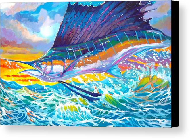 Sailfish Canvas Print featuring the painting Sailing The Sunset by Yusniel Santos