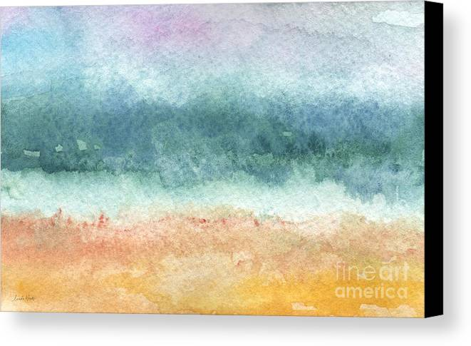 Abstract Canvas Print featuring the painting Sand And Sea by Linda Woods
