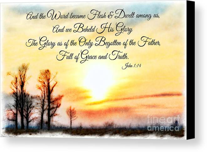 Nature Canvas Print featuring the photograph Southern Sunset - Digital Paint II With Verse by Debbie Portwood
