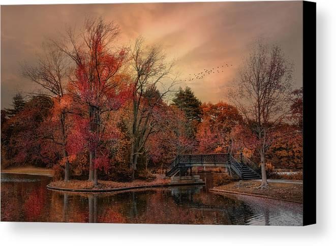 Autumn Canvas Print featuring the photograph Splendor In The Park by Robin-Lee Vieira