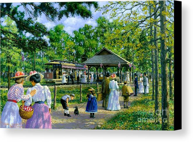 Sunday Picnic Canvas Print featuring the painting Sunday Picnic by Michael Swanson