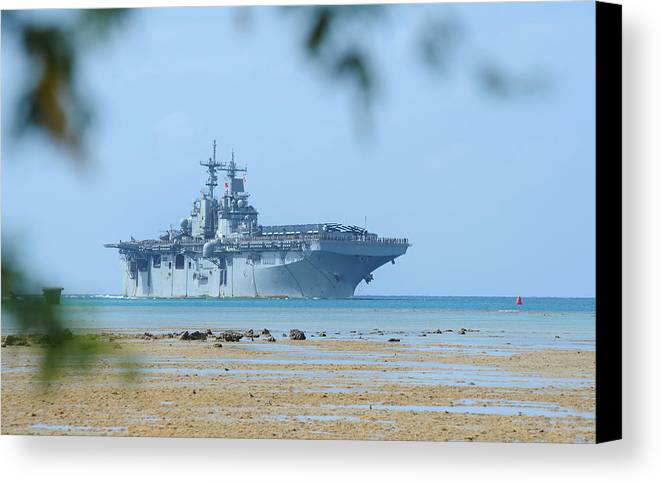 Usn Canvas Print featuring the photograph The Amphibious Assault Ship Uss Boxer by Paul Fearn