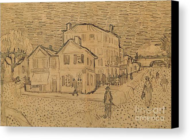 Drawing Canvas Print featuring the drawing The Artists House In Arles by Vincent Van Gogh