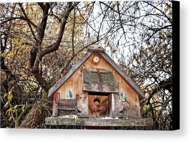 Melba; Idaho; Birdhouse; Shelter; Outdoor; Fall; Autumn; Leaves; Plant; Vegetation; Land; Landscape; Tree; Branch; House; Cross; Canvas Print featuring the photograph The Birdhouse Kingdom - The Purple Martin by Image Takers Photography LLC - Carol Haddon