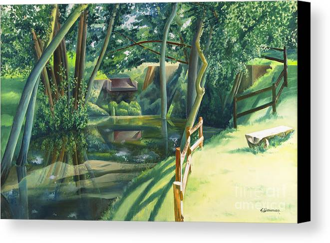 Watermill Canvas Print featuring the painting The Watermill Of Gemage by Christian Simonian