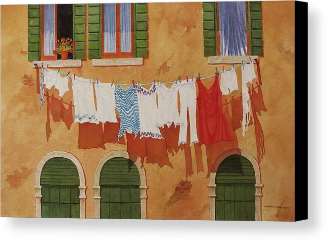 Venice Canvas Print featuring the painting Venetian Washday by Mary Ellen Mueller Legault