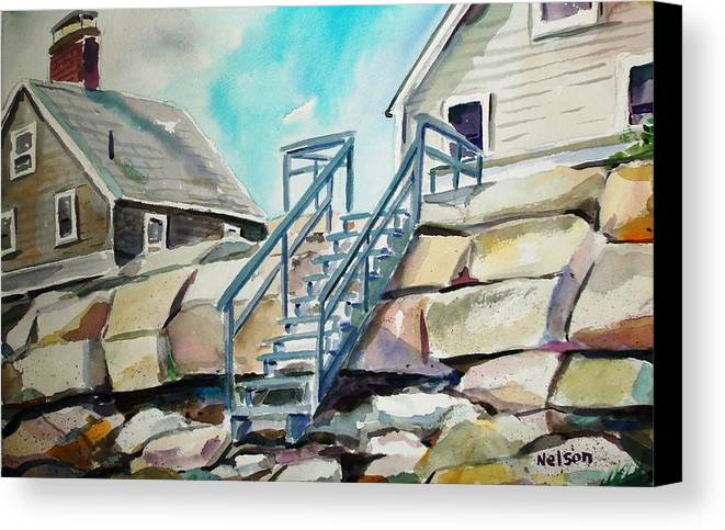 Wells Beach Canvas Print featuring the painting Wells Beach Beach Stairs by Scott Nelson