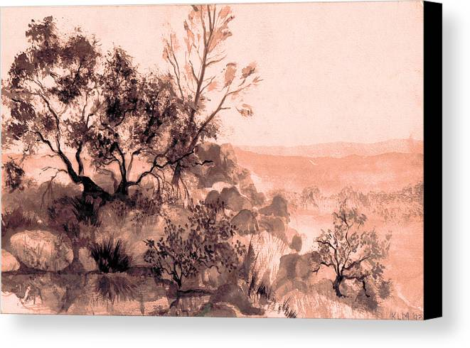 Canvas Print featuring the painting Iron Mountain by Kitty Meekins