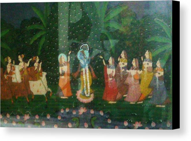 Palm Canvas Print featuring the painting Jungle Gathering by Unique Consignment
