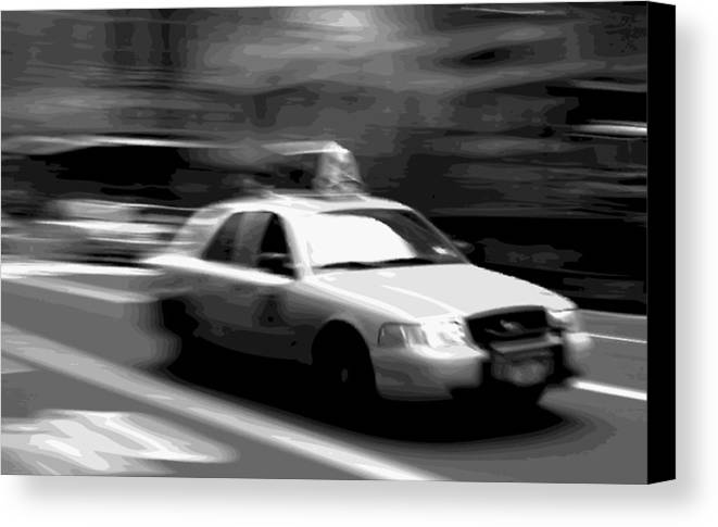 Taxi Canvas Print featuring the photograph Nyc Taxi Bw16 by Scott Kelley