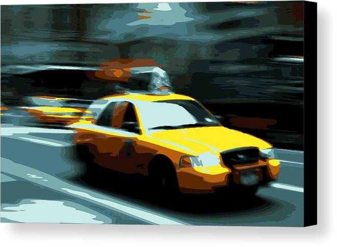 Taxi Canvas Print featuring the photograph Nyc Taxi Color 16 by Scott Kelley