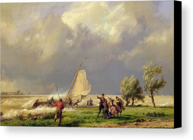 Storm; Stormy; Wind; Windswept; Windy; Wreck; Ship; Wreck Canvas Print featuring the painting The Shipwreck by Hermanus Koekkoek