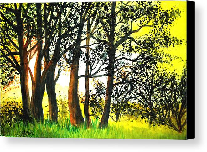 Landscape Canvas Print featuring the painting Arbutus by Vivian Mosley
