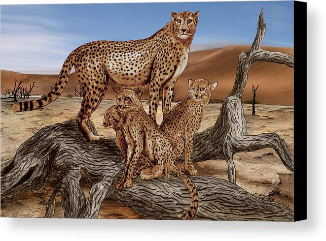 Cheetah Family Tree Canvas Print featuring the drawing Cheetah Family Tree by Peter Piatt
