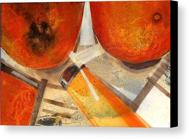 Canvas Print featuring the painting Orange Still Life by Evguenia Men