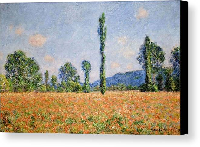 Poppy Field In Giverny 02 - Claude Monet Canvas Print featuring the painting Poppy Field In Giverny by Claude Monet