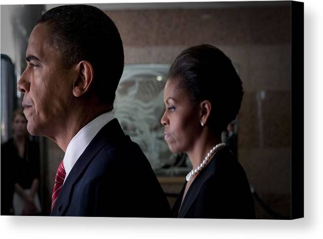 History Canvas Print featuring the photograph President And Michelle Obama by Everett