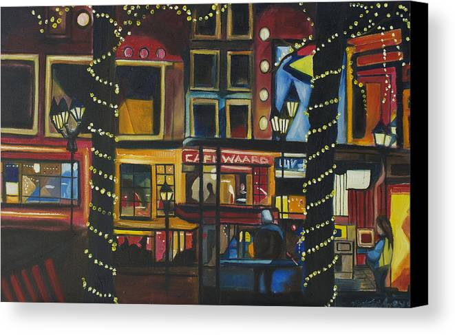 Cityscape Canvas Print featuring the painting A Moment In Dam by Patricia Arroyo