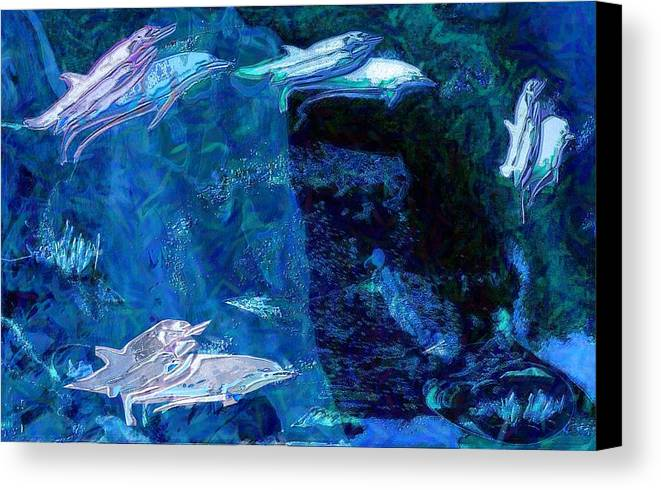 Dolphins Canvas Print featuring the digital art Amidst Dolphins by Mushtaq Bhat