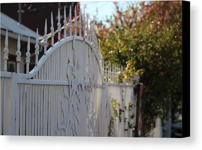 White Canvas Print featuring the photograph Angled Closeup Of White Washed Iron Gate To Garden by Colleen Cornelius