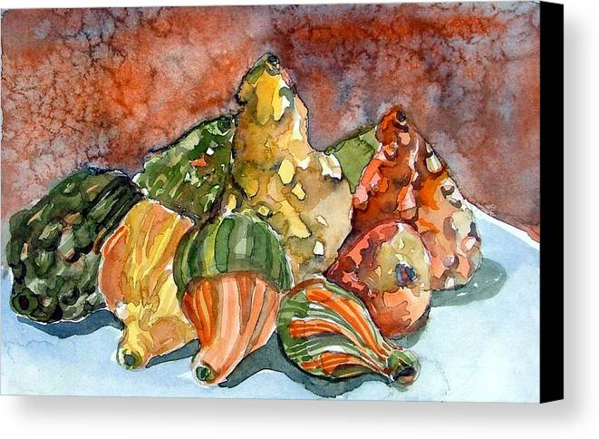 Gourds Canvas Print featuring the painting Autumn Gourds by Mindy Newman