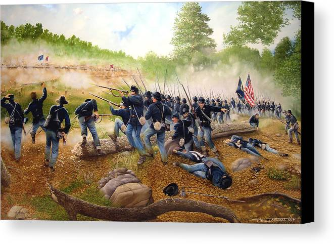 Civil War Canvas Print featuring the painting Battle Of Utoy Creek by Marc Stewart