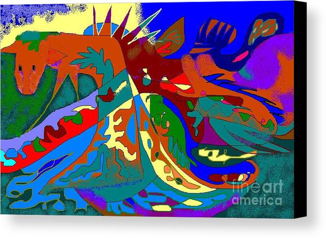 Card Canvas Print featuring the digital art Beast In Colorful Coat by Beebe Barksdale-Bruner