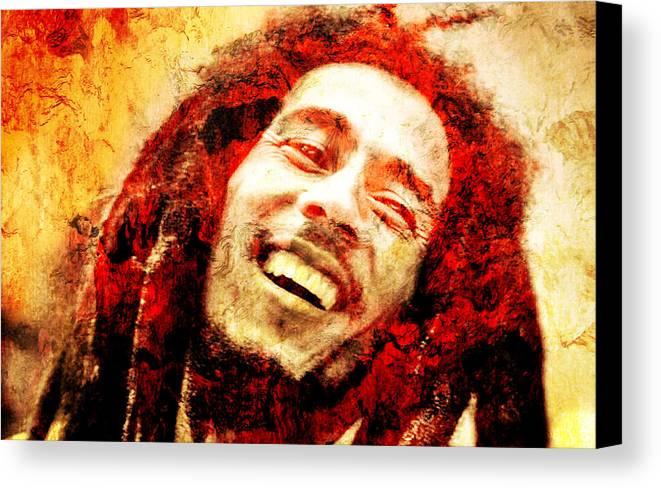 Bob Marley Canvas Print featuring the photograph Bob Marley by J - O  N  E