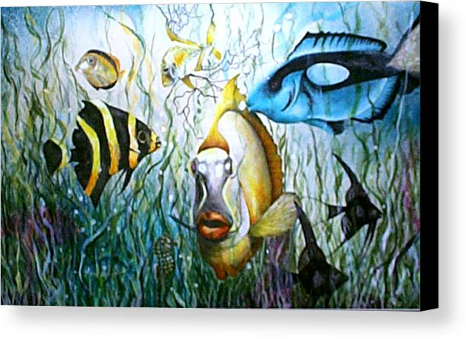 Fish Canvas Print featuring the print Bubba Fish And Friends by JoLyn Holladay