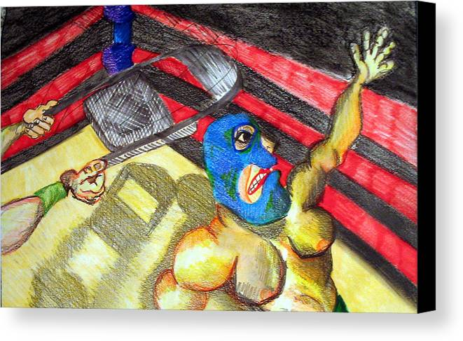 Wrestling Canvas Print featuring the drawing Chair by Jame Hayes