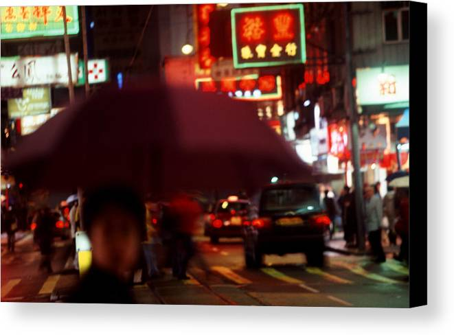 China Canvas Print featuring the photograph China Street Scene Hong Kong by Brad Rickerby