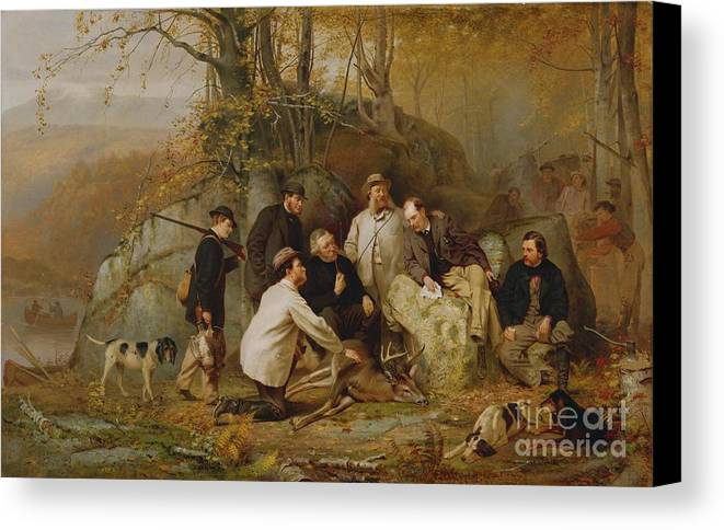 Claiming Canvas Print featuring the painting Claiming The Shot - After The Hunt In The Adirondacks by John George Brown