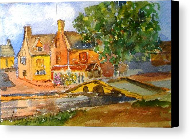 Watercolor Canvas Print featuring the painting Cotswolds Town Study by Larry Hamilton