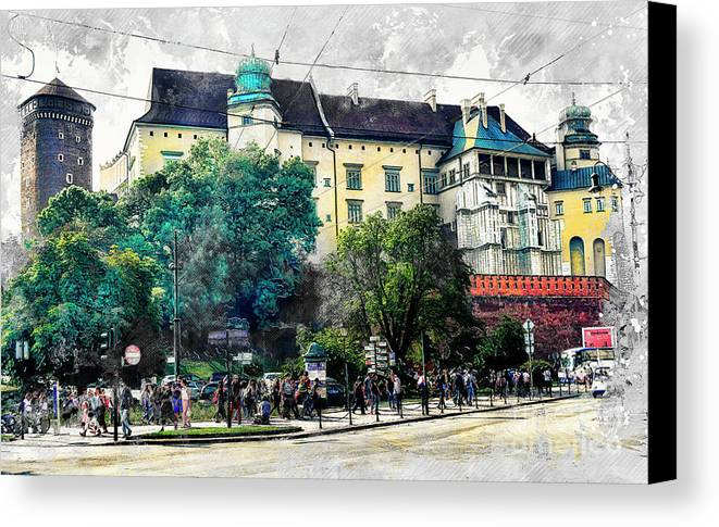 Cracow Canvas Print featuring the digital art Cracow Art 2 Wawel by Justyna JBJart